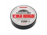 Изолента ПВХ REXANT 19 мм х 25 м, черная, упаковка 5 роликов