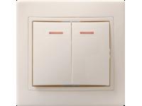 ВС10-2-1-ККм Выключатель 2кл с инд. 10А КВАРТА (кремовый)