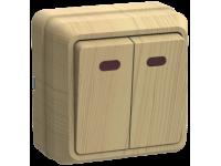 ВС20-2-1-ОС Выключатель 2кл с инд. 10А ОКТАВА (сосна)