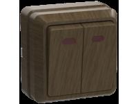 ВС20-2-1-ОД Выключатель 2кл с инд. 10А ОКТАВА (дуб)