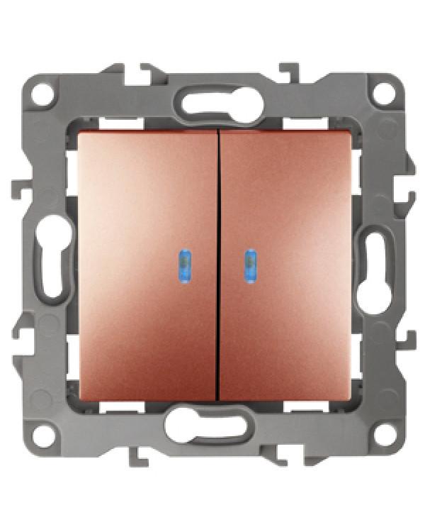 12-1105-14 ЭРА Выключатель двойной с подсветкой, 10АХ-250В, IP20, Эра12, медь (10/100/2500), 12-1105-14