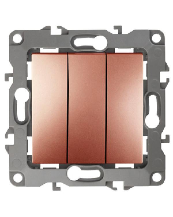 12-1107-14 ЭРА Выключатель тройной, 10АХ-250В, IP20, Эра12, медь (10/100/2500)