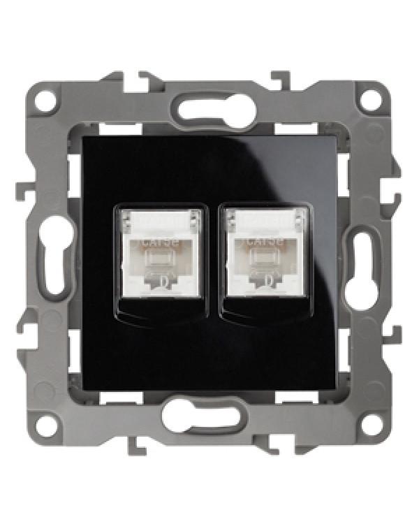 12-3108-06 ЭРА Розетка информационная двойная 2XRJ45, IP20, Эра12, чёрный (10/100/2500)