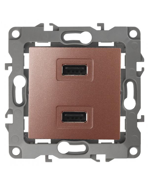 12-4110-14 ЭРА Устройство зарядное USB, 230В/5В-2100мА, IP20, Эра12, медь (6/60/1920)