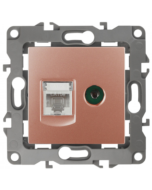 12-3110-14 ЭРА Розетка комбинированная RJ45+TV, IP20, Эра12, медь (10/100/3200), 12-3110-14