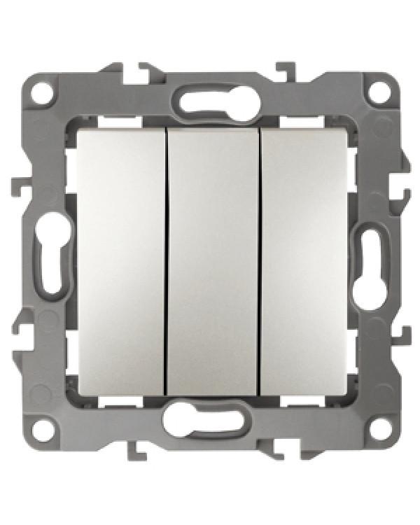 12-1107-15 ЭРА Выключатель тройной, 10АХ-250В, IP20, Эра12, перламутр (10/100/2500), 12-1107-15
