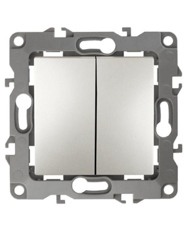 12-1004-15 ЭРА Выключатель двойной, 10АХ-250В, IP20, без м.лапок, Эра12, перламутр (10/100/2500), 12-1004-15