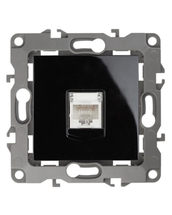 12-3107-06 ЭРА Розетка информационная RJ45, IP20, Эра12, чёрный (10/100/3200), 12-3107-06