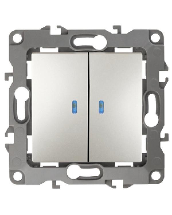 12-1105-15 ЭРА Выключатель двойной с подсветкой, 10АХ-250В, IP20, Эра12, перламутр (10/100/2500)