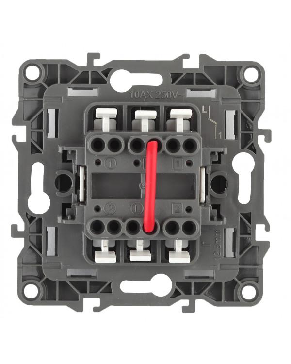 12-1004-01 ЭРА Выключатель двойной, 10АХ-250В, IP20, без м.лапок, Эра12, белый (10/100/3000)
