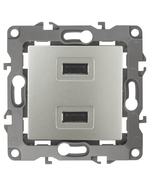 12-4110-15 ЭРА Устройство зарядное USB, 230В/5В-2100мА, IP20, Эра12, перламутр (6/60/1920)