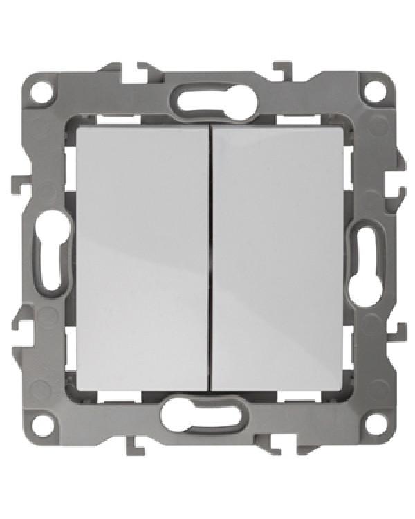 12-1104-01 ЭРА Выключатель двойной, 10АХ-250В, IP20, Эра12, белый (10/100/2800)