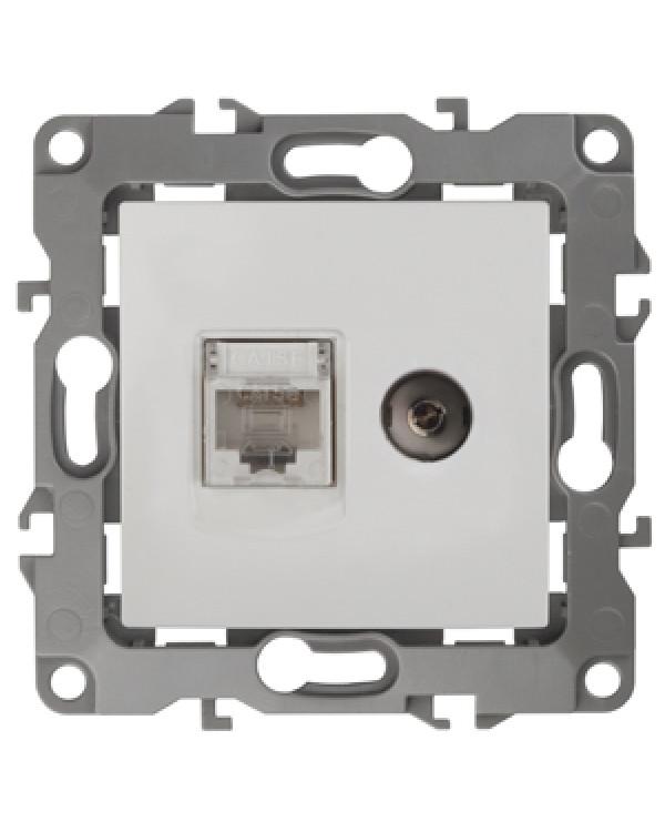 12-3110-01 ЭРА Розетка комбинированная RJ45+TV, IP20, Эра12, белый (10/100/3200), 12-3110-01