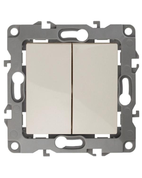 12-1106-02 ЭРА Переключатель двойной, 10АХ-250В, IP20, Эра12, слоновая кость (10/100/3200)