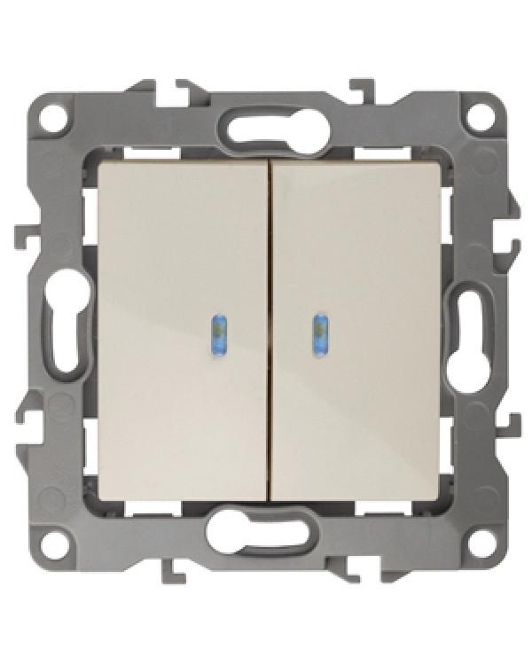 12-1105-02 ЭРА Выключатель двойной с подсветкой, 10АХ-250В, IP20, Эра12, слоновая кость (10/100/3200, 12-1105-02