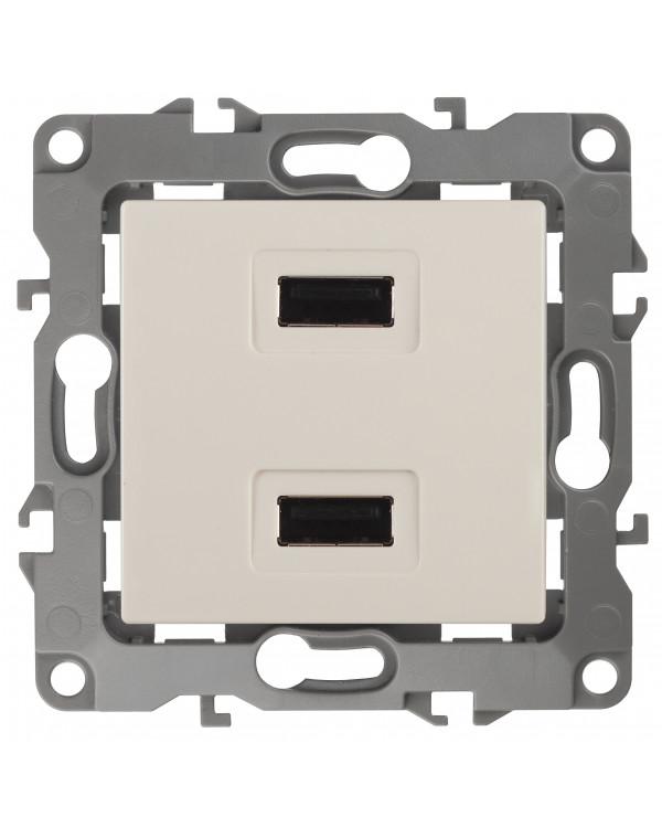 12-4110-02 ЭРА Устройство зарядное USB, 230В/5В-2100мА, IP20, Эра12, слоновая кость (6/60/1920)