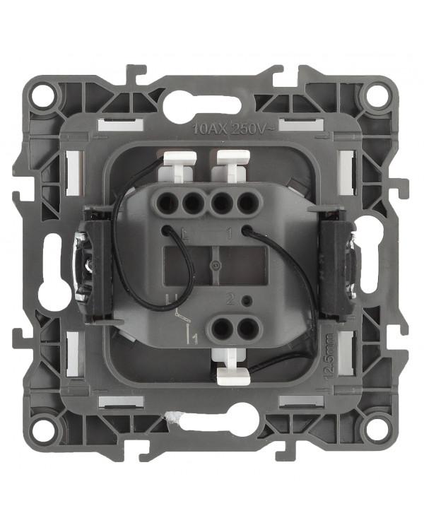 12-1102-03 ЭРА Выключатель с подсветкой, 10АХ-250В, IP20, Эра12, алюминий (10/100/3200)
