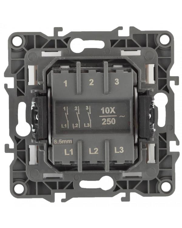 12-1107-03 ЭРА Выключатель тройной, 10АХ-250В, IP20, Эра12, алюминий (10/100/3200), 12-1107-03