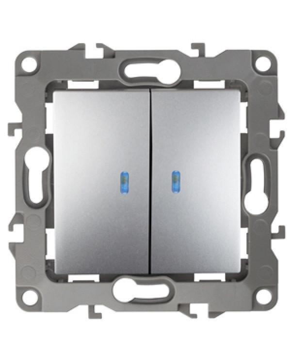 12-1105-03 ЭРА Выключатель двойной с подсветкой, 10АХ-250В, IP20, Эра12, алюминий (10/100/2500), 12-1105-03