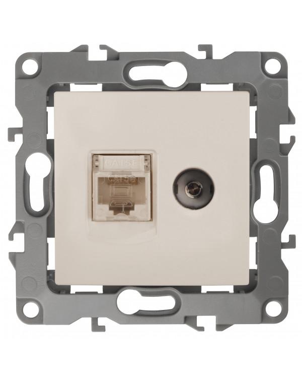 12-3110-02 ЭРА Розетка комбинированная RJ45+TV, IP20, Эра12, слоновая кость (10/100/3200), 12-3110-02