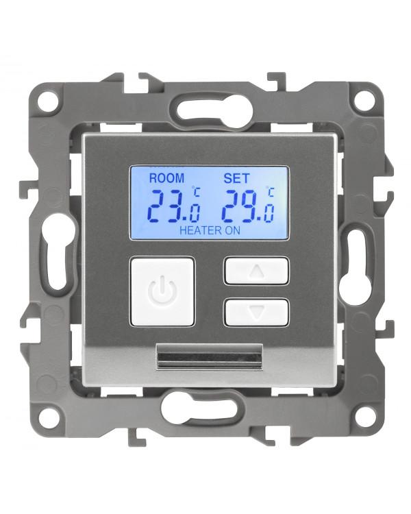 12-4111-03 ЭРА Терморегулятор универс. 230В-Imax16А, IP20, Эра12, алюминий (6/60/1200), 12-4111-03