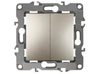 12-1004-04 ЭРА Выключатель двойной, 10АХ-250В, IP20, без м.лапок, Эра12, шампань (10/100/2500)