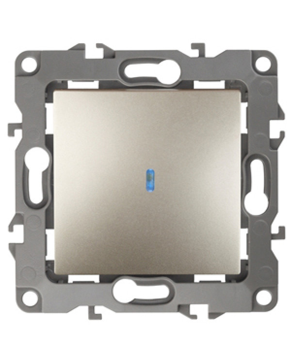 12-1102-04 ЭРА Выключатель с подсветкой, 10АХ-250В, IP20, Эра12, шампань (10/100/3200), 12-1102-04