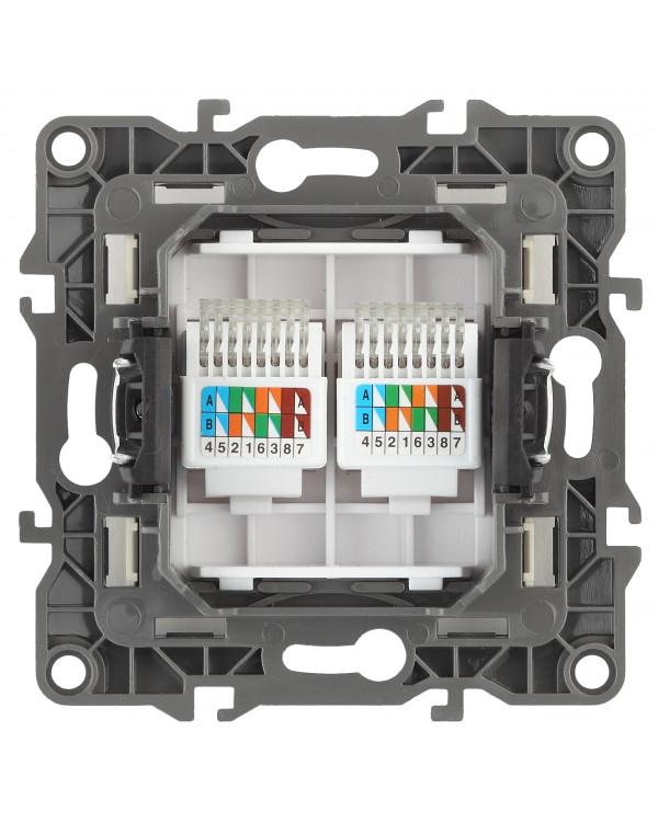 12-3108-15 ЭРА Розетка информационная двойная 2XRJ45, IP20, Эра12, перламутр (10/100/2500)