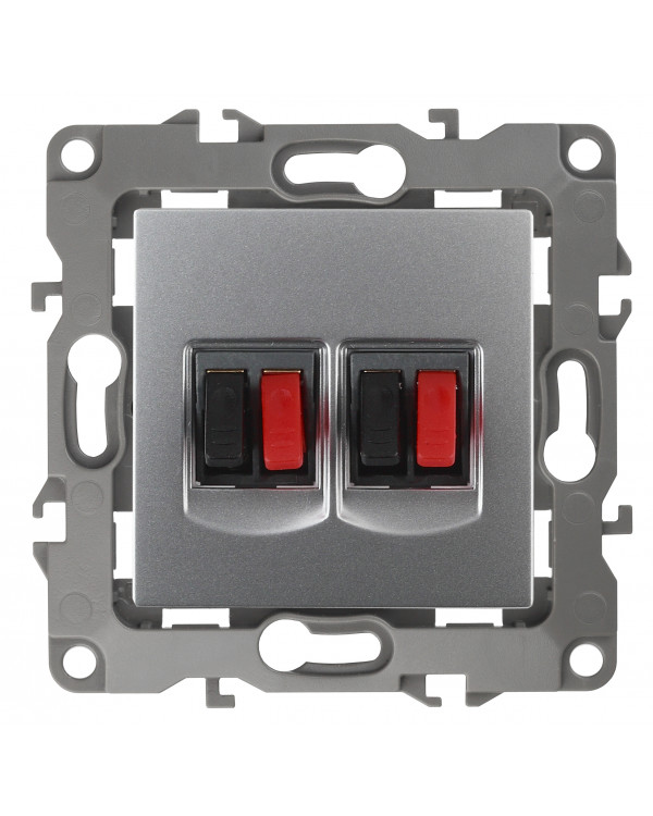 12-3112-03 ЭРА Розетка аудио двойная, IP20, Эра12, алюминий (10/100/2100)
