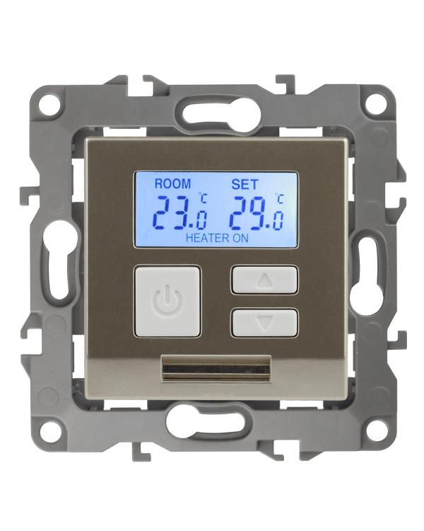12-4111-04 ЭРА Терморегулятор универс. 230В-Imax16А, IP20, Эра12, шампань (6/60/1200)