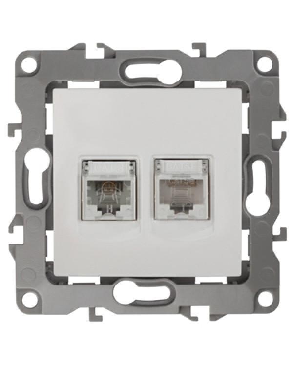 12-3109-01 ЭРА Розетка комбинированная RJ45+RJ11, IP20, Эра12, белый (10/100/3200)