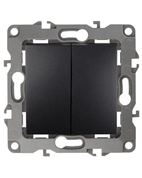 12-1004-05 ЭРА Выключатель двойной, 10АХ-250В, IP20, без м.лапок, Эра12, антрацит (10/100/2500)