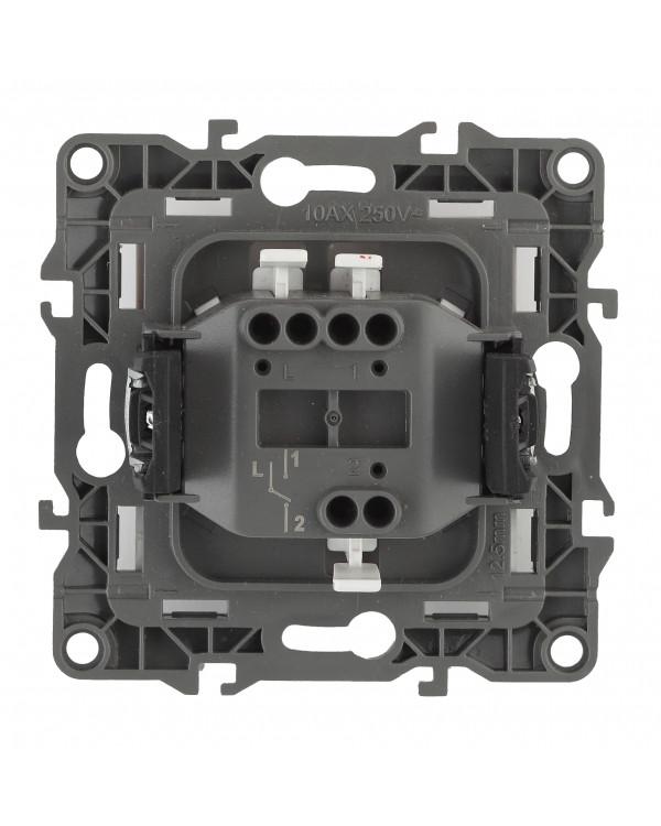 12-1101-05 ЭРА Выключатель, 10АХ-250В, IP20, Эра12, антрацит (10/100/3200), 12-1101-05