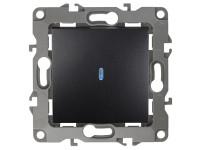 12-1102-05 ЭРА Выключатель с подсветкой, 10АХ-250В, IP20, Эра12, антрацит (10/100/3200)