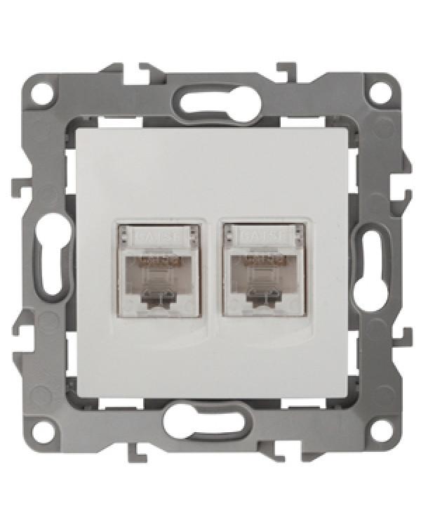12-3108-01 ЭРА Розетка информационная двойная 2XRJ45, IP20, Эра12, белый (10/100/3200), 12-3108-01