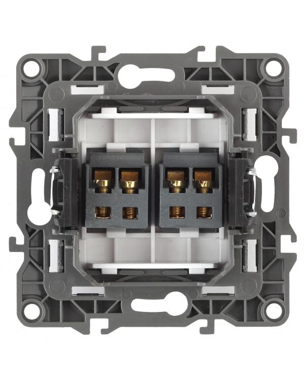 12-3112-05 ЭРА Розетка аудио двойная, IP20, Эра12, антрацит (10/100/3200)