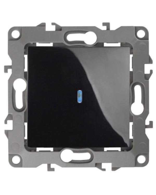 12-1102-06 ЭРА Выключатель с подсветкой, 10АХ-250В, IP20, Эра12, чёрный (10/100/3200), 12-1102-06