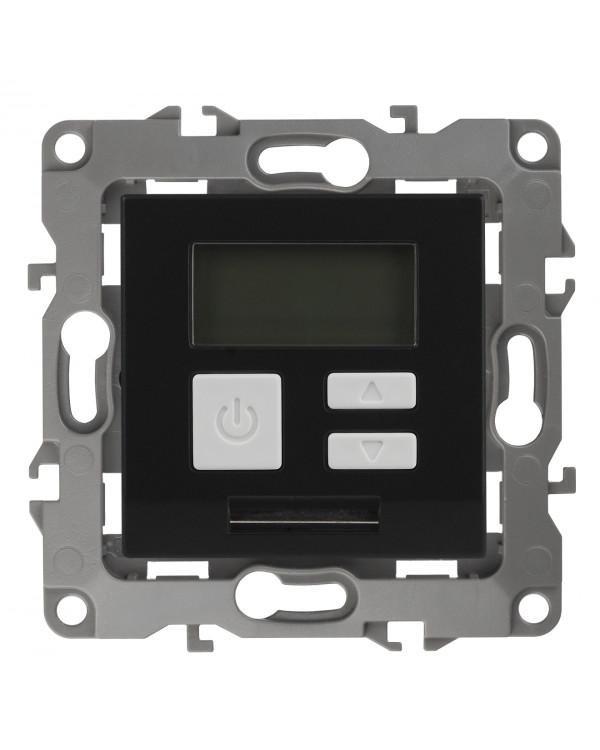 12-4111-05 ЭРА Терморегулятор универс. 230В-Imax16А, IP20, Эра12, антрацит (6/60/1200), 12-4111-05