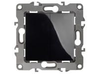 12-1004-06 ЭРА Выключатель двойной, 10АХ-250В, IP20, без м.лапок, Эра12, чёрный (10/100/2500)