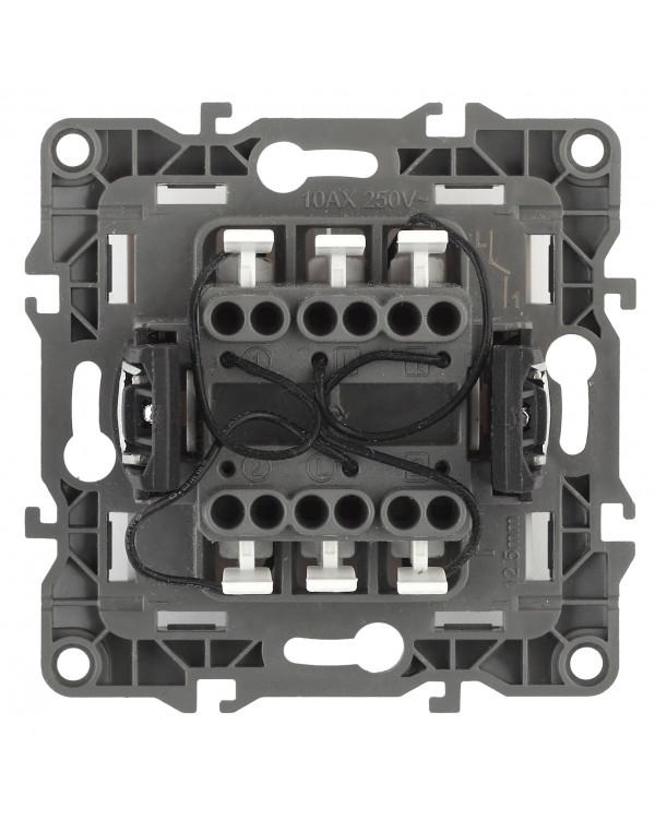 12-1105-06 ЭРА Выключатель двойной с подсветкой, 10АХ-250В, IP20, Эра12, чёрный (10/100/3200)