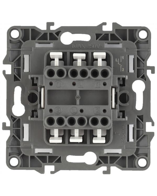 12-1106-06 ЭРА Переключатель двойной, 10АХ-250В, IP20, Эра12, чёрный (10/100/2500), 12-1106-06
