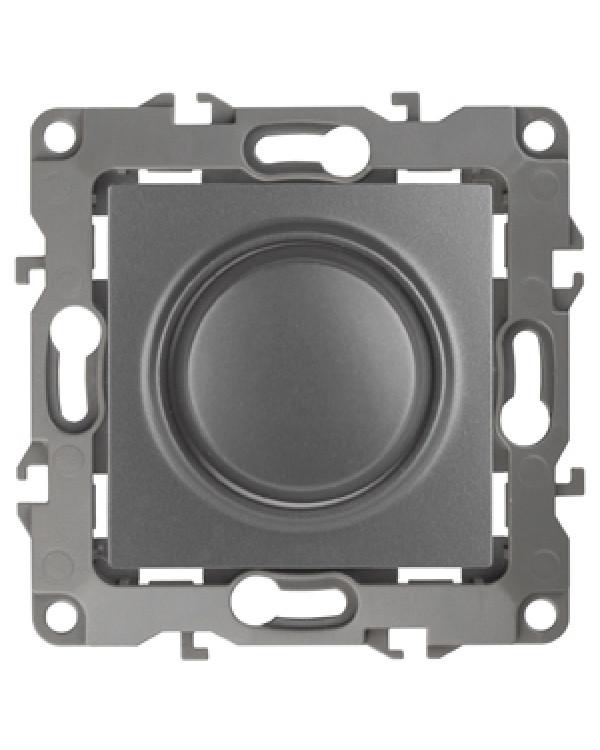 12-4101-12 ЭРА Светорегулятор поворотно-нажимной, 400ВА 230В, IP20, Эра12, графит (6/60/1500)