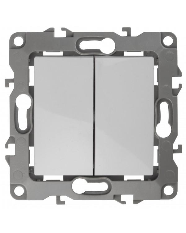 12А-1004-01 ЭРА Выключатель двойной, 10АХ-250В, Эра12, Al+Cu, белый (10/100/2500), 12А-1004-01
