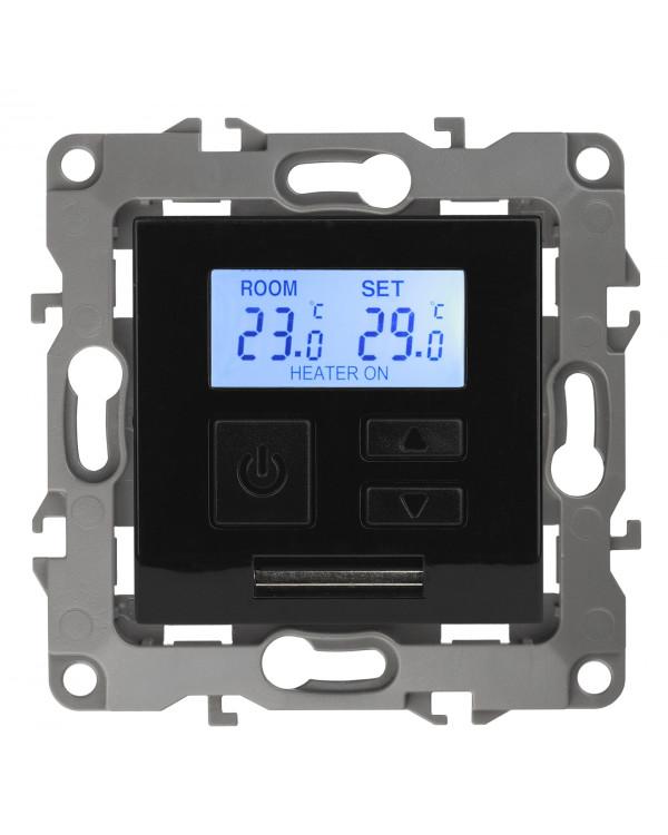 12-4111-06 ЭРА Терморегулятор универс. 230В-Imax16А, IP20, Эра12, чёрный (6/60/1200), 12-4111-06