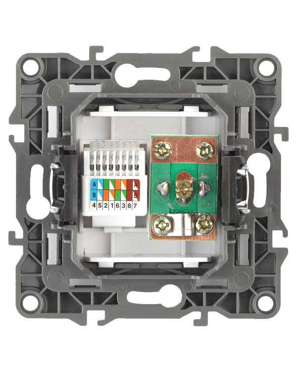 12-3110-06 ЭРА Розетка комбинированная RJ45+TV, IP20, Эра12, чёрный (10/100/3200), 12-3110-06