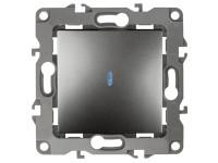 12-1102-12 ЭРА Выключатель с подсветкой, 10АХ-250В, IP20, Эра12, графит (10/100/2500)