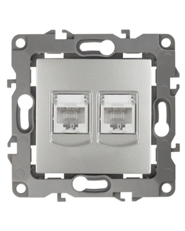 12-3108-03 ЭРА Розетка информационная двойная 2XRJ45, IP20, Эра12, алюминий (10/100/2500)