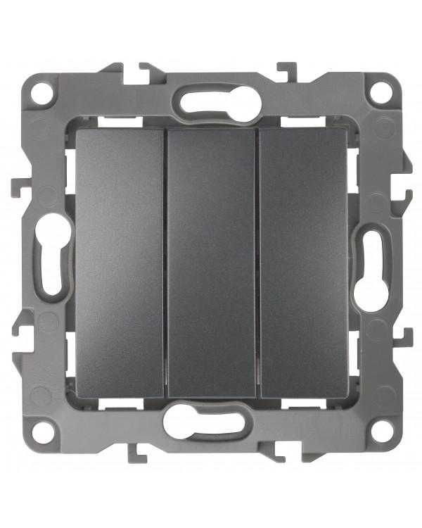 12-1107-12 ЭРА Выключатель тройной, 10АХ-250В, IP20, Эра12, графит (10/100/2500), 12-1107-12