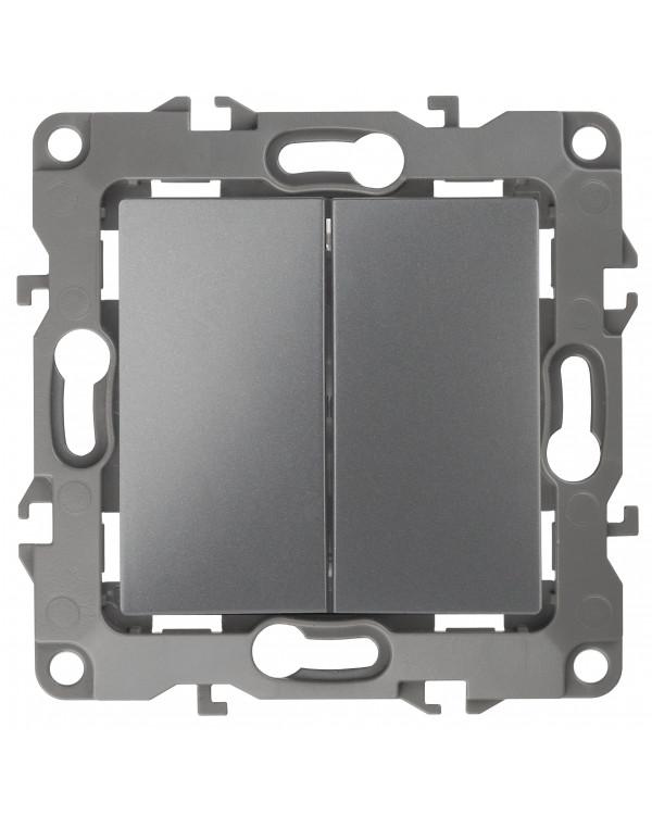 12-1104-12 ЭРА Выключатель двойной, 10АХ-250В, IP20, Эра12, графит (10/100/2500), 12-1104-12