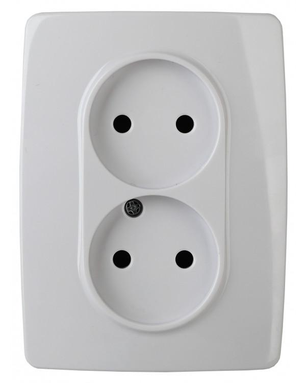 12-2107-01 ЭРА Розетка 2X2P, 16A-250В, IP20, Эра12, белый (10/100/1600)